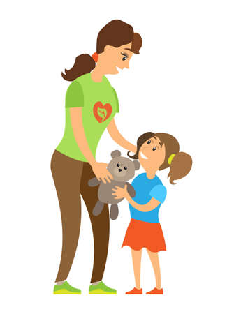 Volunteering woman caring to orphan girl, assistance giving toy to child, full length and portrait view of smiling volunteer and kid, helping vector