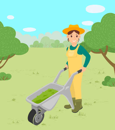 Farming woman pushing trolley vector, female character with cart smiling farmer. Meadow with trees and greenery, natural environment, agriculture on field