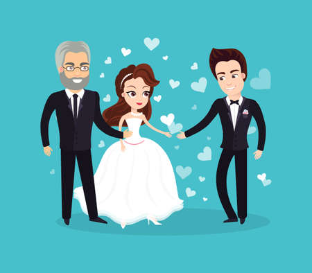 Wedding vector, father standing with his daughter, bride wearing dress and groom in formal suit, people in love on special day ceremony flat sty Ilustrace