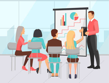 Conference of employees vector, business education. Presentation with charts and information on project stats, man and woman listening to boss strategy