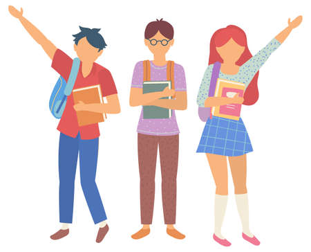 Pupils holding book and backpack, back to school. Teenagers standing together with notebook, childhood and education, group of students, kid vector. Back to school concept. Flat cartoon