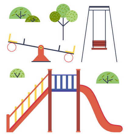 Isolated playground. Set of vector illustrations without people. Slide, up-and-down carousel, swing, green trees, bushes. Time to play at playground. Children s equipment in park for playing