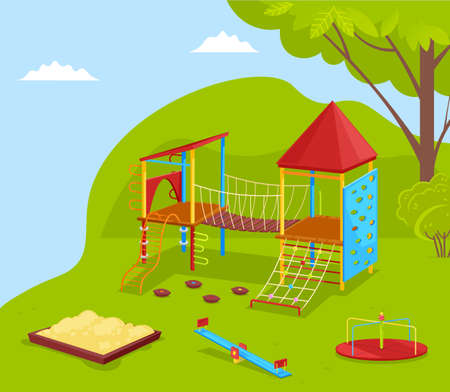 Playground and green nature outdoor, sandbox and carousel. School yard with trees, recreation place, wooden swing, climb equipment, game outdoor vector