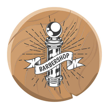Wooden circle plate or board for barbershop. Barber s pole, lines, rays, decoration elements. Using for signboard above entrance of barbershop. Decorative nameplate isolated at white background