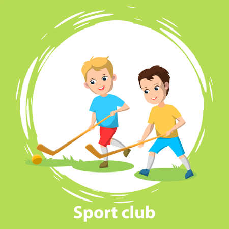 Sport school club, young boys playing field hockey on grass with sticks and ball. Team game for active leisure time after classes. Vector illustration in flat cartoon style Ilustracja