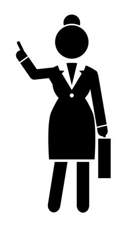 Business lady point with finger up gesture at something. Black and white  portrait with businesswoman wearing office dress. Web icon, isolated female in office suit, keep dresscode. Vector avatar Illustration