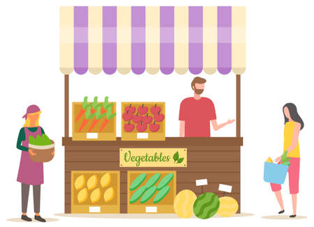 Seller selling vegetables, woman buying products. Tent with carrot and tomato, bell pepper, zucchini and watermelon, marketplace and retail vector