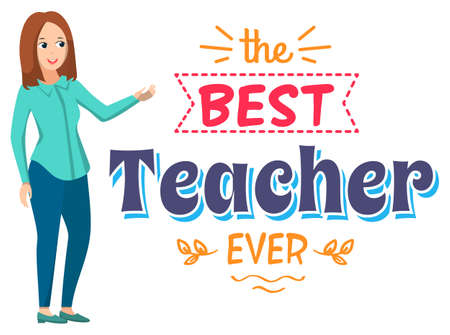 Best teacher ever vector, female character teaching occupation of woman. Lady wearing casual clothes showing on banner with stripe and floral elements, back to school concept, flat cartoon Ilustração