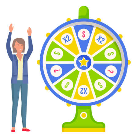 Game fortune wheel. Girl playing risk game with fortune wheel and lottery. Casino and gambling vector. Illustration of casino fortune, wheel winner game. Woman won, joyfully raised her hands up