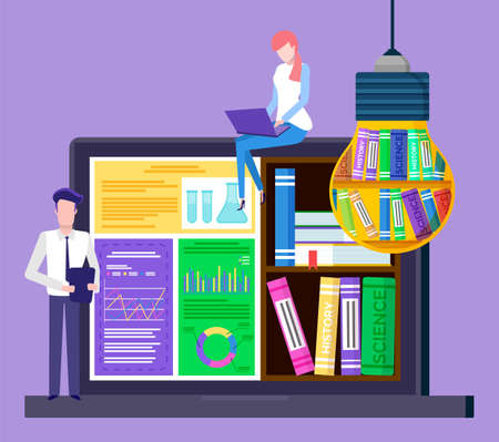 Man and woman on online learning. Students near laptop with educational materials for history and science. Virtual bookshelf on monitor and in light bulb, electronic library. Vector illustration