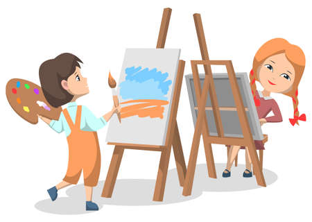 School art club for pupils. Two girls drawing paints on canvas with paint palette and brush. Spend time creatively. Vector illustration in flat cartoon style Vektorgrafik