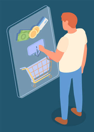 Online shop, isometric 3d illustration. Man customer shopper choosing product in online shop, put it in cart at website. Money, coins, credit card symbols. Spending money at goods in e-store
