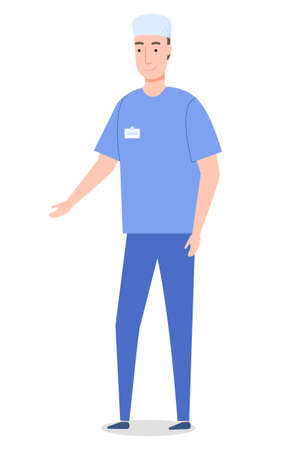 Vector cartoon character isolated at white. Surgeon wearing medical suit gesture hand. Medical staff, worker. Professional medical specialist with badge gesticulating. Medical concept, flat style