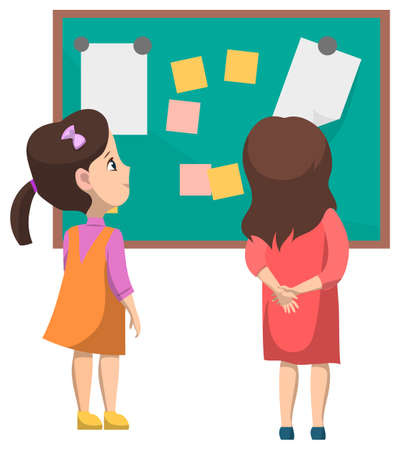 Education vector, kids looking on board with papers and pages. Blackboard with memos and notes. Girls getting knowledge in kindergarten, back to school concept. Flat cartoon Иллюстрация