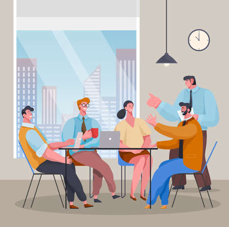 Teamwork. Business meeting, conference. Bosses talking with workers. People discussing business project or plan sitting at table with laptops in office near panoramic window. Leaders and partners team 矢量图像