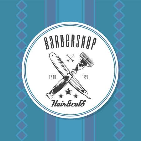 Barbershop instruments, equipment using by barber. Shaver and razor blade. Vintage barber shop lettering Haircuts text