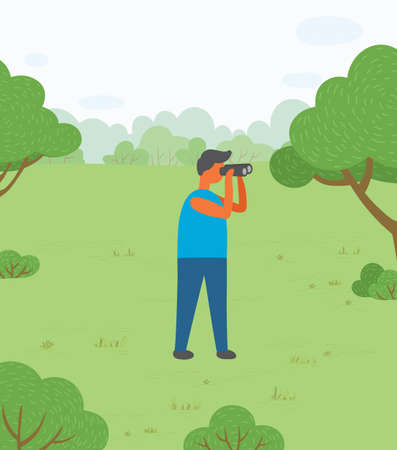 Man on nature vector, male character exploring environment with help of binoculars.