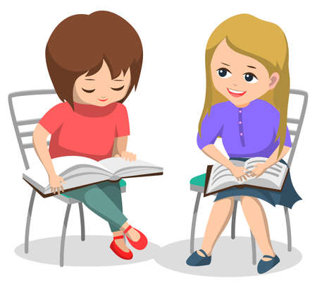 Kids reading books and preparing for lessons vector, children classmates sitting on chairs. Pupils with textbooks studying and getting knowledge. Female characters back to school concept flat cartoon