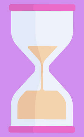 Hourglass vector, isolated timer. Container made of glass with sand pieces inside of device for measuring time. Countdown stopwatch timer deadline illustration in flat style design for web, print Ilustracja
