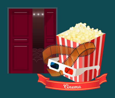 Glasses for 3d film watching vector, door entrance to cinema hall with big screen and comfortable places, package with popcorn snack and shots reel
