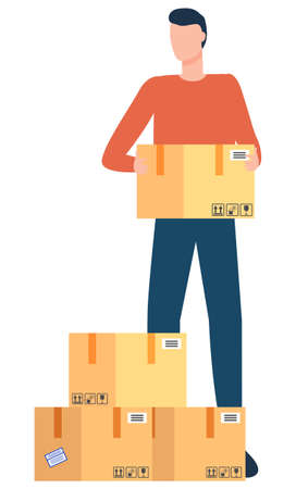 Cargo or freight shipping, delivery service international business vector. Parcel boxes and deliveryman, couriers and cardboard containers, transportation