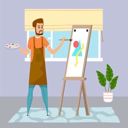 Young guy drawing abstract picture, triangle amd circle at easel using paint and brush. Home activity or leisure time. Houseplant, window with curtains, carpet decorate room. Quarantine self-isolation