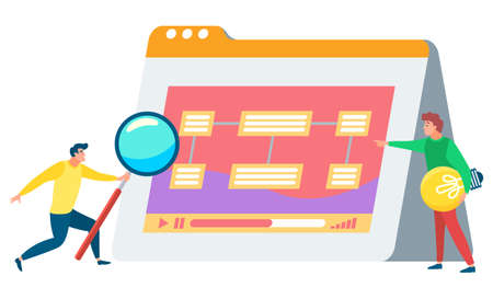 Man standing near statistics board and looking on it through magnifying glass. Person stand with light bulb in hands. Data graph on white board. Vector illustration flat style