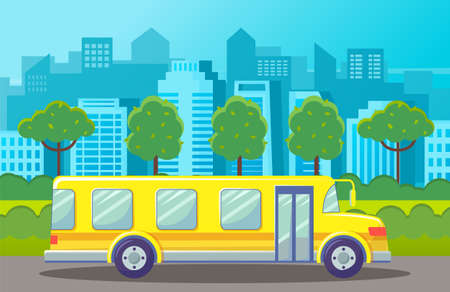 Yellow bus at road at city background with silhouettes of urban buildings, architecture. Urban transport. Green trees and bushes at sidewalk. Bus for tourists or school bus. Vehicle, transportation