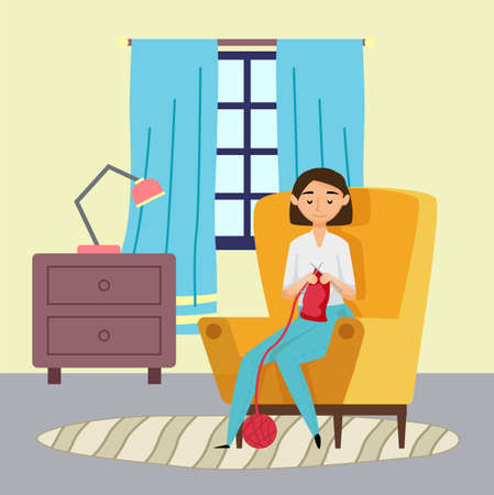 Smiling young woman knitting red scarf sitting in armchair at home. Chest of drawers with lamp, window with curtains decorating room. Quarantine isolation at home. Hobby and leisure activities Иллюстрация
