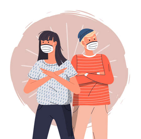 Young girl with guy wearing face medical masks crossed hands at chest at colorful vector background. Concept of world epidemy. People protect from virus with respiratory mask. Cartoon characters Ilustração