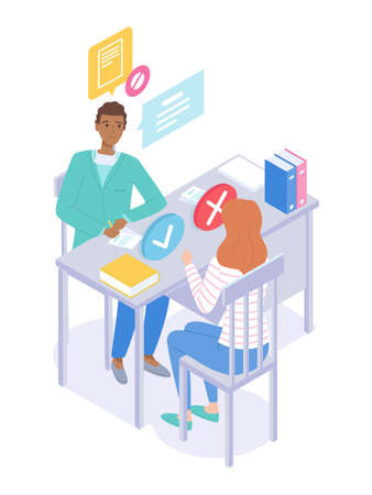 Illustration of a medical subject. Reception at the practicing doctor. Consultation with therapist. Patient woman visits a doctor. The purpose of treatment. Diagnosis Health problems. Flat vector.