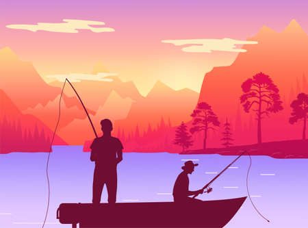 Fishermans in fishing boat. Silhouette of two men sitting in pleasure boat who fish on the lake. Persons holding fishing rods in their hands on the background of reservoir at the foot of the mountain