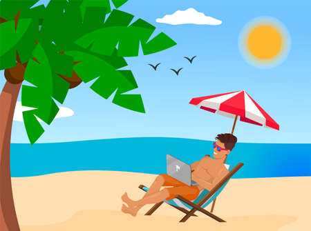 Young stylish guy lying on chair at beach near sea or ocean. Man wearing sunglasses relaxing under umbrella and using laptop. Work at distance, work remotely, freelance, online work in internet Vecteurs