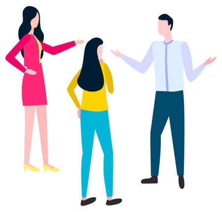 People arguing how to write business plan. Vector woman in pink dress, female in blue jeans and yellow skirt and man office worker isolated brokers or adents