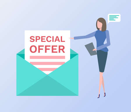 Special offer vector, woman with clipboard and chatting box thought bubble, envelope letter with proposal flat style. Proposition on paper isolated Vectores