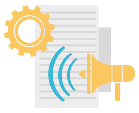 Tools and instruments for work productivity vector, document piece of paper for writing. Bullhorn megaphone for marketing advertising and broadcasting gear 免版税图像 - 152778574