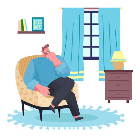 Man sitting at armchair in living room near window. Guy enjoy leisure time like spend time at home. Cartoon character thinking and smiling. Indoor recreation at home Chest of drawers with lamp in room