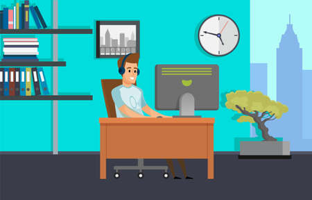 Worker using computer in office, employee in headset with pc, office interior, shelf and clock, skyscraper view from window, man working, hobby vector 矢量图像