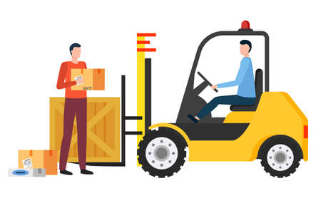 Delivery of products or orders. Isolated character working in team in logistics company. Delivery of items in parcels. Carton box on loaded machine. People with containers, vector in flat style