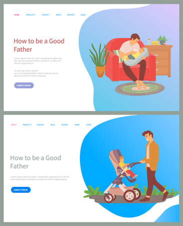 How to be good father vector, man caring for newborn baby feeding with milk from bottle, dad walking with kid in perambulator, strolling male. Website or slider app, concept for Father day