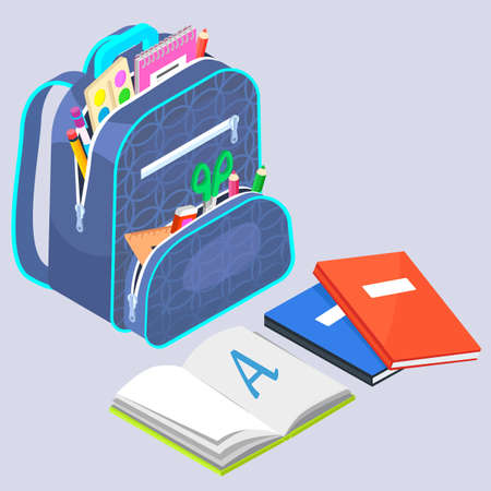 School bag with open notebook or book, pen and pencil, ruler and scissors, paint objects. Supplies in rucksack, education symbol, haversack with zipper, studying object, college equipment vector