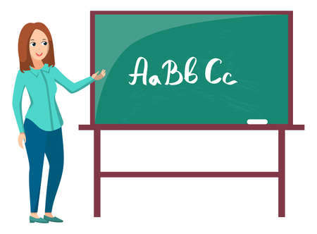 Teacher standing near chalkboard, letters abc on green board. Tutor teaching, educational element, elementary school, alphabet symbol, lesson vector