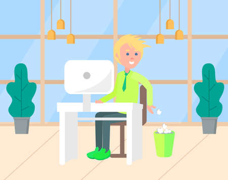 Young blond man in green shirt throwing crumpled paper in trash bin. Male employee sitting at desk and working with computer. Office workplace vector 矢量图像