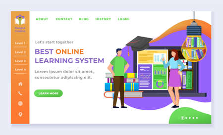 Education and online courses, landing web page template students and Internet library vector. Textbooks pile and laptop, knowledge, Internet site mockup. Subject learning and exam illustration Vectores