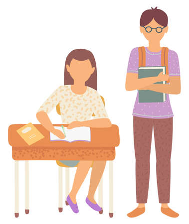 Boy and girl classmates in school vector, isolated schoolboy and schoolgirl flat style characters. Female sitting by wooden desk writing composition. Back to school concept. Flat cartoon Ilustracja
