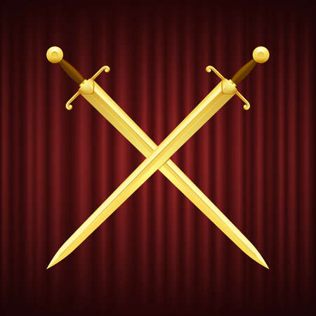 Two golden swords with brown handles crossed. Medieval weapon with sharp and shiny blade on red background. Knight attributes, royal guard arms vector