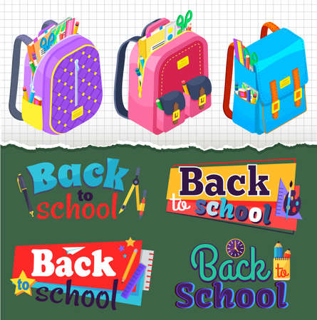 Back to school concept banner vector, set of satchels with supplies and textbooks. Scissors and pencils, ruler and tools for education Flat cartoon
