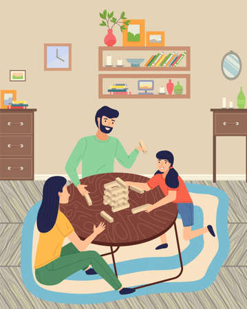 Family playing  game sitting at floor on carpet, spend time together, moving blocks, parents playing indoor game with daughter, home indoors activity, people have fun, leisure time, hobby