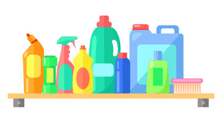 Cleaning tools, collection of bottle with laundry detergent, toilet cleaner, cleanser, spray for cleaning window or glass, brush, container with liquid for washing clothes, dishwashing liquid