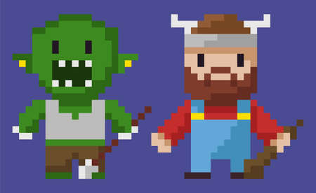 Pixel game graphics characters vector, isolated man with horns on hat, hero with weapon, zombie monster troll with arrow having metal pointer flat style
